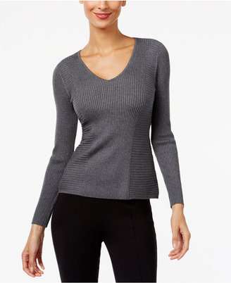 INC International Concepts Ribbed V-Neck Sweater, Only at Macy's $49.50 thestylecure.com