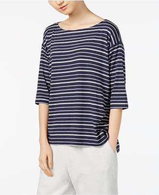 Eileen Fisher Striped Boxy Boat-Neck Top, Regular & Petite $108 thestylecure.com