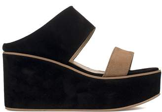 Fabio Rusconi Black/beige Suede Wedge Sandal