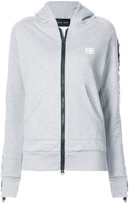 Baja East fringe detail zip-up hoodie