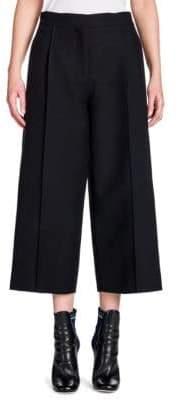 Fendi Wool & Silk Gazar Pintuck Wide-Leg Trousers