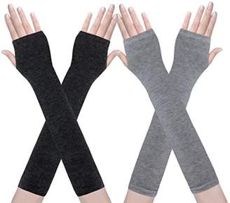 a7bbeb5ad658e Amandir 2 Pairs Womens Long Fingerless Gloves Arm Warmers Knit Thumbhole  Stretchy Gloves