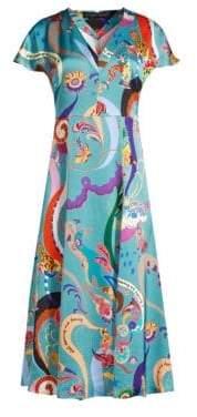 Etro Print Chiffon Cap Sleeve A-Line Dress