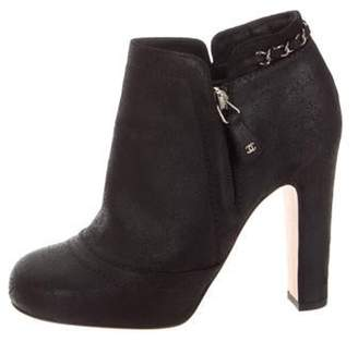 Chanel Suede Ankle Boots Black Suede Ankle Boots