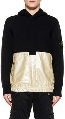 Stone Island Black/rose Gold Lambswool With Iridescent Coating Tela Hooded Pullover