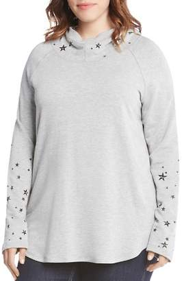 Karen Kane Plus Star Print Hooded Sweatshirt