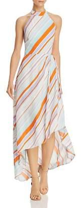 ASTR the Label Asymmetric Stripe Halter Dress