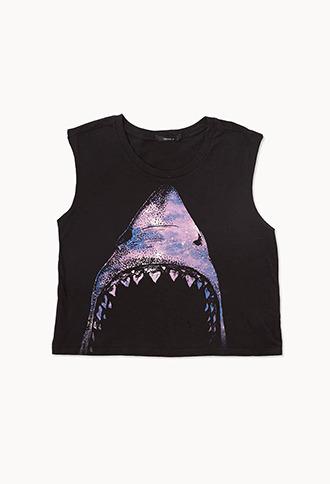 Forever 21 Shark Bite Cropped Tank