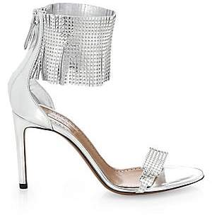 Alaà ̄a Women's Studded Fringe Leather Ankle-Strap Sandals