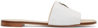 Giuseppe Zanotti White Leather Logo Sandals $495 thestylecure.com
