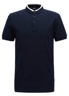 BOSS Hugo Slim-fit polo shirt in cotton pique colorblock collar XL Open Blue