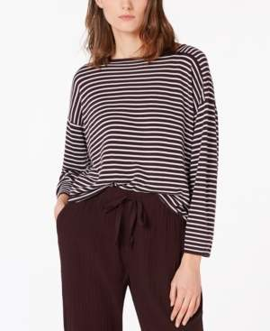 Eileen Fisher Striped Dropped-Shoulder Sweater