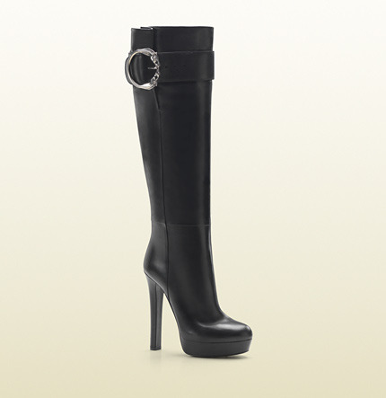 Gucci Round Horse-Heads Tall High Heel Platform Boot