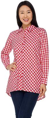 Joan Rivers Classics Collection Joan Rivers Gingham Boyfriend Shirt with Hi-Low Hem