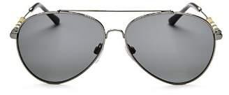 Burberry Men's Polarized Brow Bar Aviator Sunglasses, 57mm