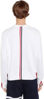 Thom Browne Cotton Jersey Sweatshirt W/ Knit Stripe
