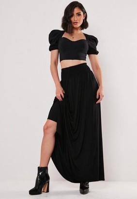 Missguided Black Jersey Shirred Waist Maxi Skirt