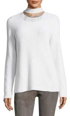 Elie Tahari Oz Ribbed Choker Cashmere Sweater