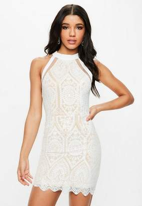 Missguided White Racer Neck Embroidered Lace Mini Dress
