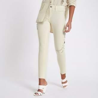 River Island Womens White Molly mid rise rhinestone jeans