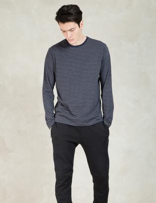SUNSPEL Charcoal/navy Strips Long Sleeve Crewneck T-shirt $95 thestylecure.com