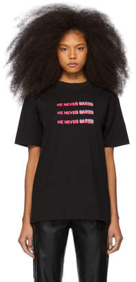Marcelo Burlon County of Milan Black He Never Cared Quote T-Shirt