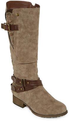 POP Womens Bernum Riding Boots Block Heel Zip