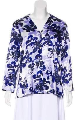 Oscar de la Renta Floral Satin Button-Up