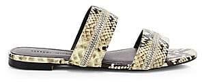 Rebecca Minkoff Women's Marciann Too Snakeskin Flat Sandals