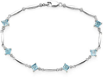 JCPenney FINE JEWELRY Genuine Swiss Blue Topaz and Diamond-Accent Sterling Silver Bracelet