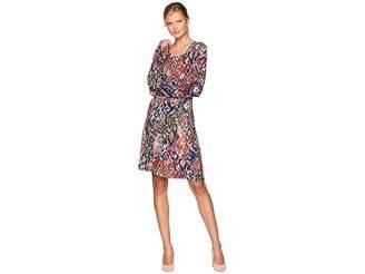 Mod-o-doc Ikat Printed Rayon Spandex Slub Jersey Princess Seamed Dress with Front Pockets