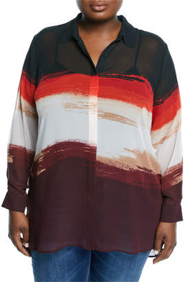 Vince Camuto Plus Long-Sleeve Horizontal Brushstroke Blouse, Plus Size