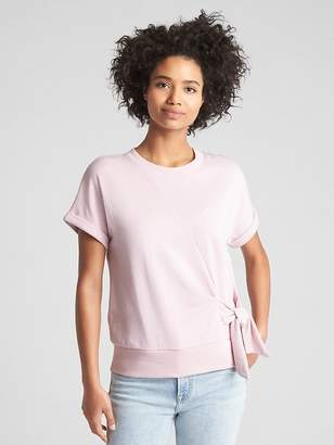 Gap Short Sleeve Tie-Waist Pullover Sweatshirt in French Terry