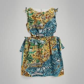 Burberry Seaside Print Seersucker Cut-out Dress