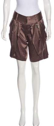 Thomas Wylde Satin Mid-Rise Shorts