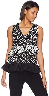 Nicole Miller New York Women's Sleeveless Ruffle Top wirh Polka Dot Print Detail