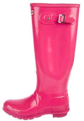 Hunter Rubber Knee-High Boots Pink Rubber Knee-High Boots