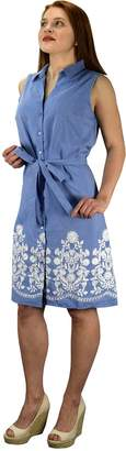 Couture Peach Button Up Dainty Floral Embroidered Chambray Dress Blue