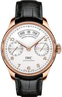 IWC IW503504 Portugieser alligator-leather and rose-gold watch