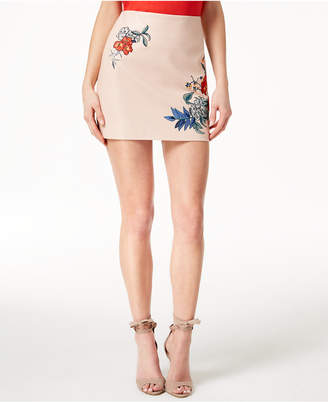 GUESS Embroidered Faux-Leather Mini Skirt