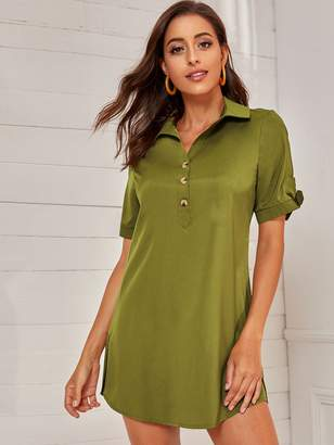 Shein Half Button Knotted Cuff Curved Hem Shirt Dress