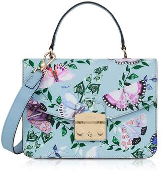 Furla Butterfly Printed Fiordaliso Leather Metropolis Small Top-handle Shoulder Bag