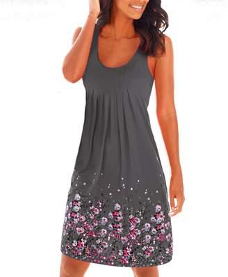 Yidarton Women's Summer Casual Loose Mini Dress Print Pleated Sleeveless Sundress A-Line Beach Dresses (, Grey)