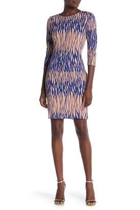 Amelia 3\u002F4 Sleeve Textured Print Dress