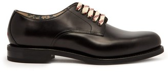 Gucci Lace Up Leather Derby Shoes - Mens - Black