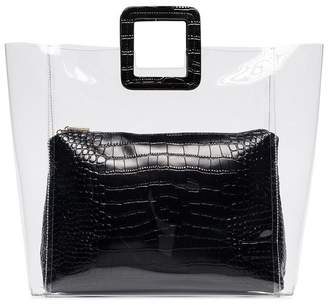 STAUD black Shirley large crocodile embossed leather tote bag