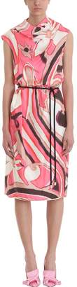 Marc Jacobs Drapped Multicoloured Silk Printed Tie Waist Dress