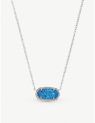 Kendra Scott Elisa rhodium-plated and cobalt drusy pendant necklace