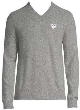 Comme des Garcons White Heart V-Neck Sweater