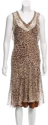 Blumarine Silk Animal Print Midi Dress